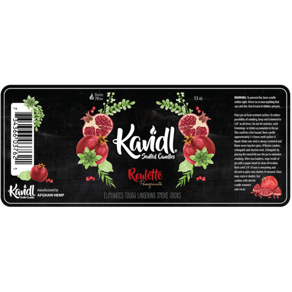 Candle by Afghan Hemp-ROULETTE POMEGRANATE 13oz