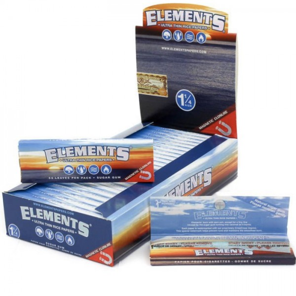 Elements 1 1/4 Slow Burn -Ultra Thin Rice Rolling Paper- Magnetic Closure