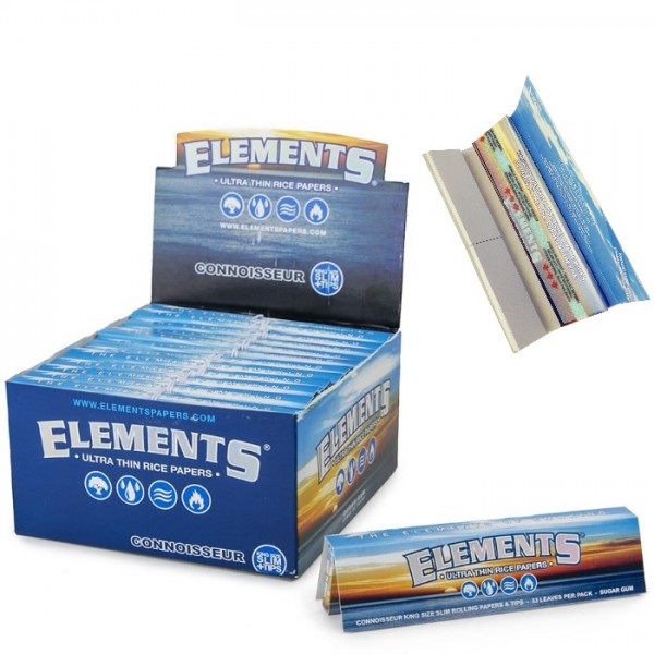 Elements - King Size Slim with Tips-Ultra Thin Rice Rolling Paper - CONNOISSEUR