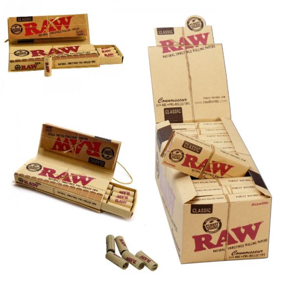 RAW Connoisseur 1 1/4 Size Classic Rolling Papers With Pre-Rolled Tips - 24ct Per Box